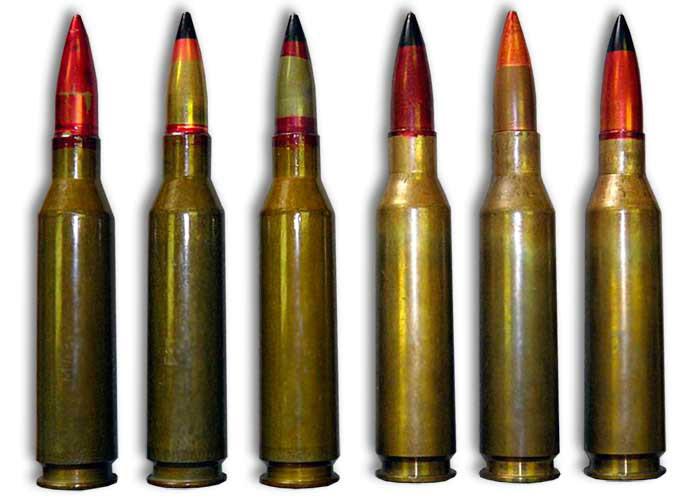 Патрон 14,5×114 с различными видами пуль.