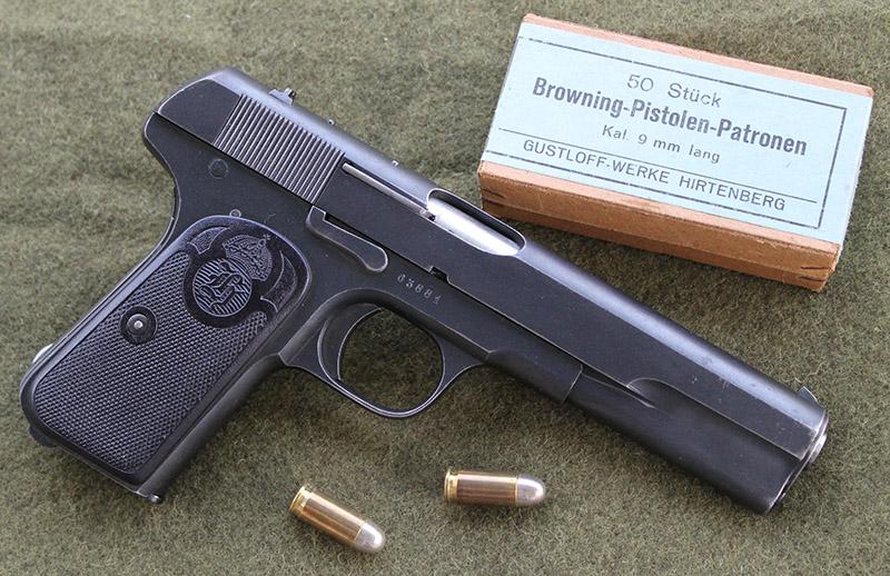 Пистолет 9mm M/1907 («Шведский Браунинг») и патроны 9×20 mm Browning Long.