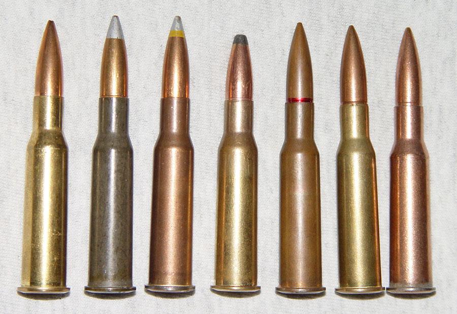 Современные патроны 7,62×54 мм с различными видами пуль
