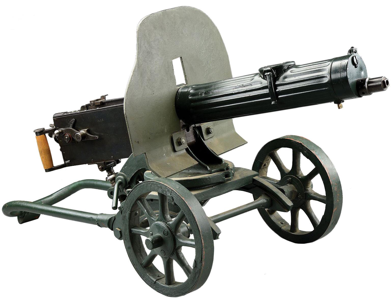 Пулемёт Максима обр. 1910/1930 года на станке Соколова с установленным бронещитом