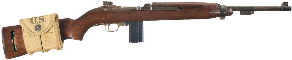 M1 Carbine с закрепленным на прикладе подсумком