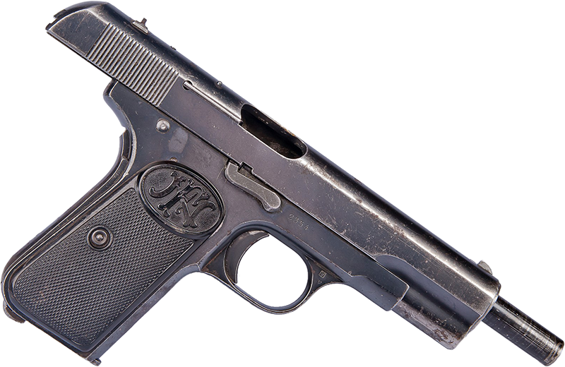 Пистолет FN Browning M1903, затвор-кожух в заднем положении