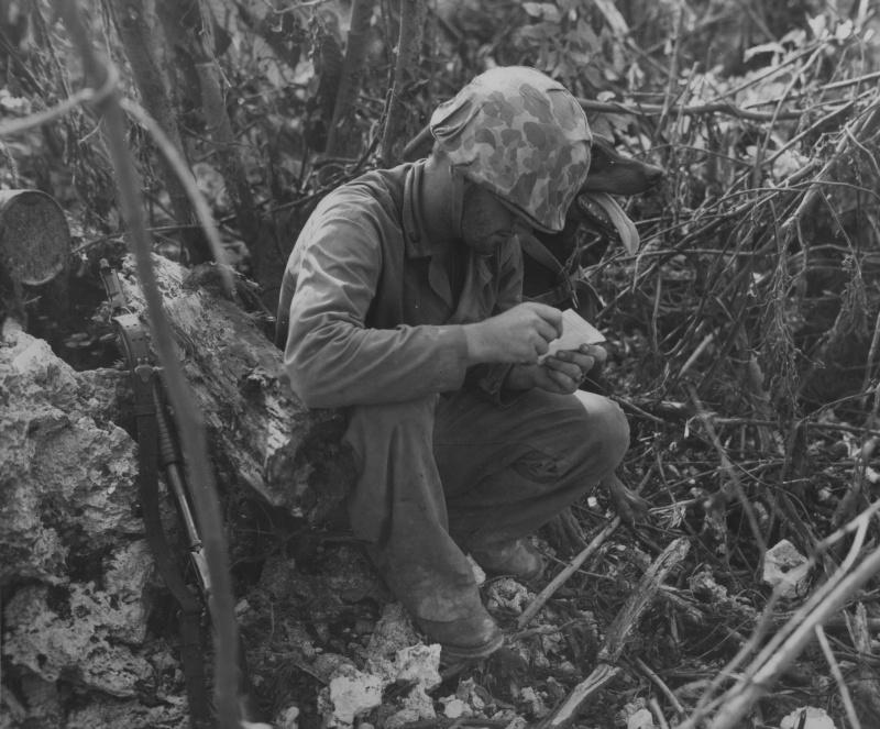 Американский морпех-кинолог читает сообщение, доставленное его собакой породы доберман, во время боев на Пелелиу.