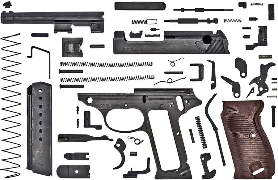 Пистолет Walther Р.38 состоит из 58 деталей