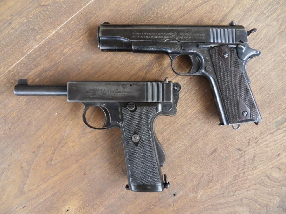 Пистолетs Webley & Scott Mark I и Colt M1911