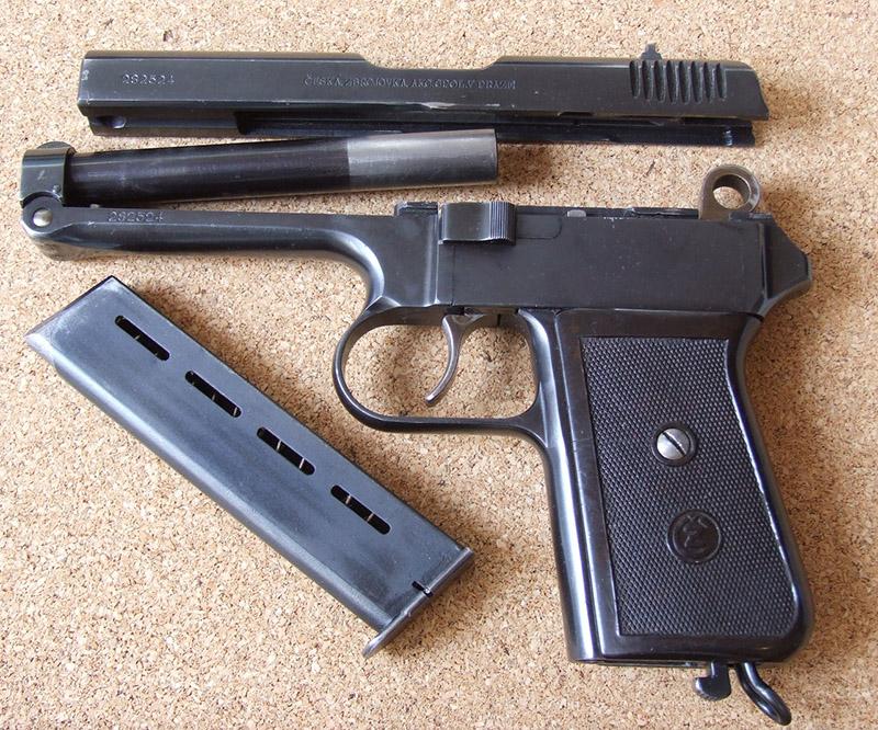 Неполная разборка пистолета ČZ vz. 38
