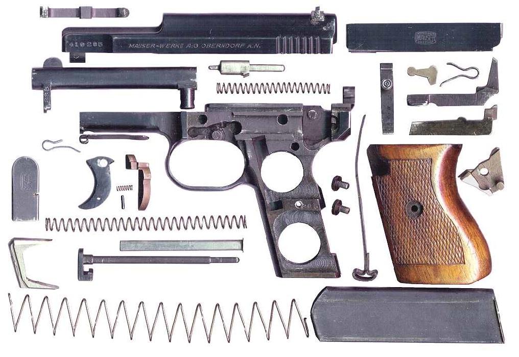 Пистолет Mauser M1934 в разобранном виде