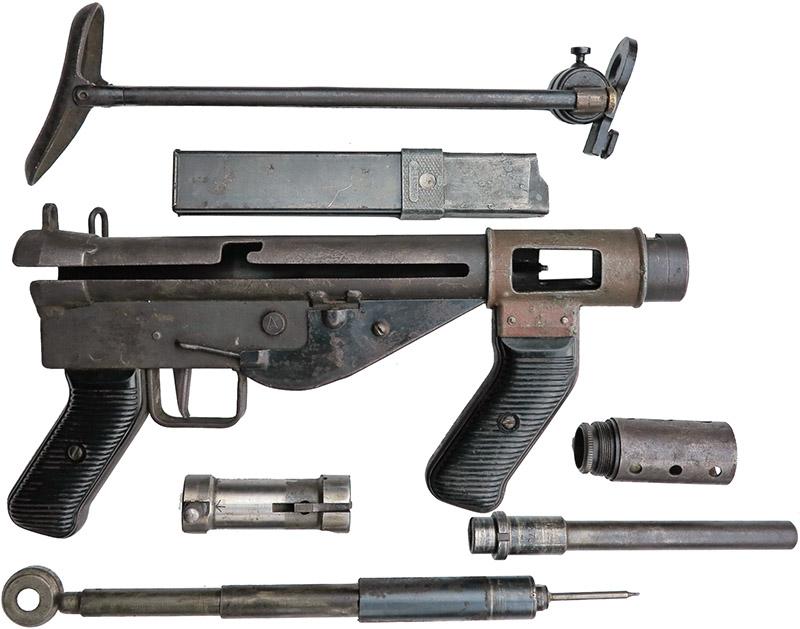 Пистолет-пулемёт Austen, неполная разборка