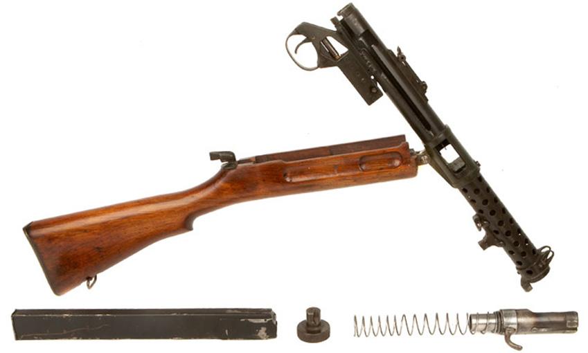 Пистолет-пулемёт Lanchester Mk.1, неполная разборка