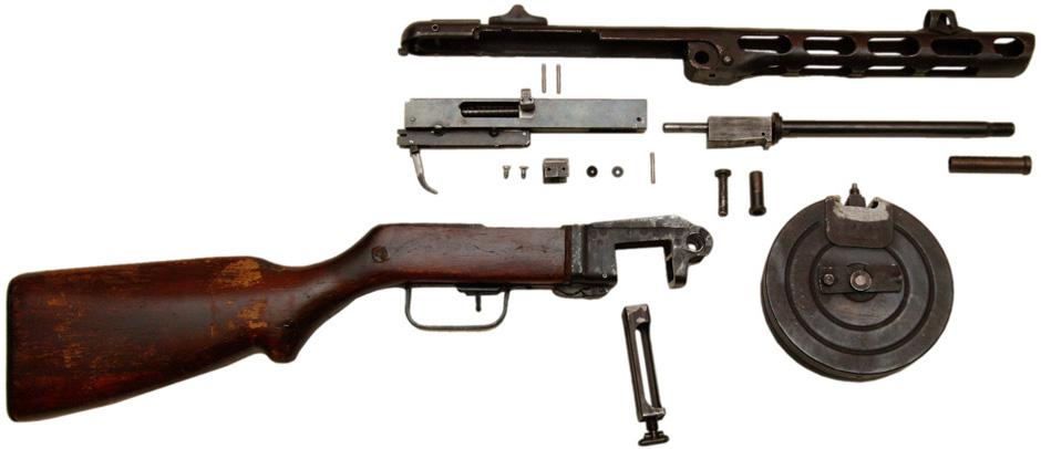 ППШ-41, неполная разборка