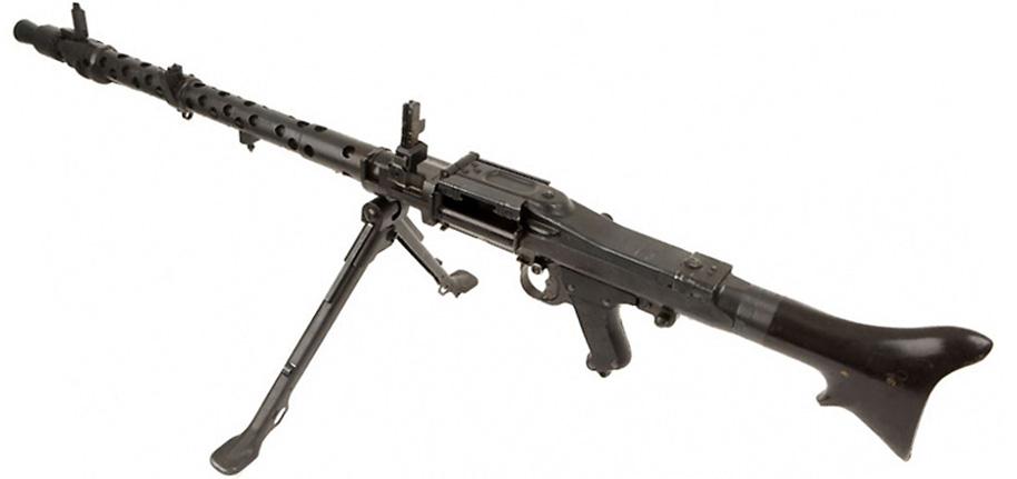Пулемётом MG 34 на универсальном станке.