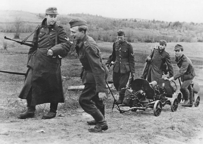 Солдаты вермахта с советским оружием, захваченным южнее города Великие Луки