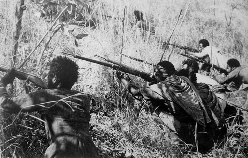 Эфиопские партизаны, вооруженные винтовками Gras Mle. 1874, в засаде в оккупированной итальянскими войсками Эфиопии