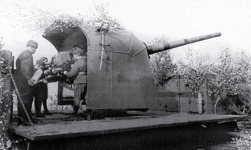 130-мм железнодорожная установка Б-57 - сухопутный вариант корабельной пушки Б-13