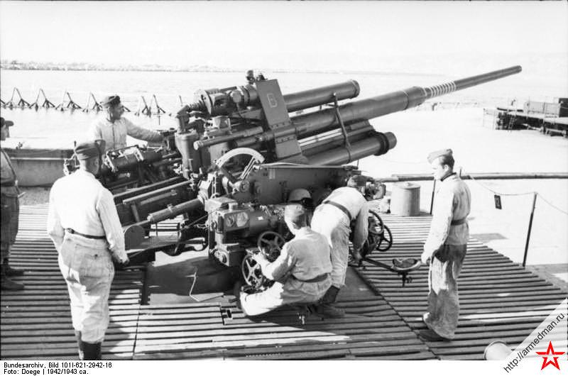Немецкая 128-мм зенитной пушки FlaK-40 обр. 1941 г.