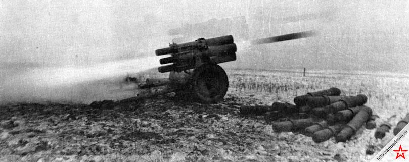 150-мм реактивный миномет Nb.W 41 обр. 1941 г. ведет огонь