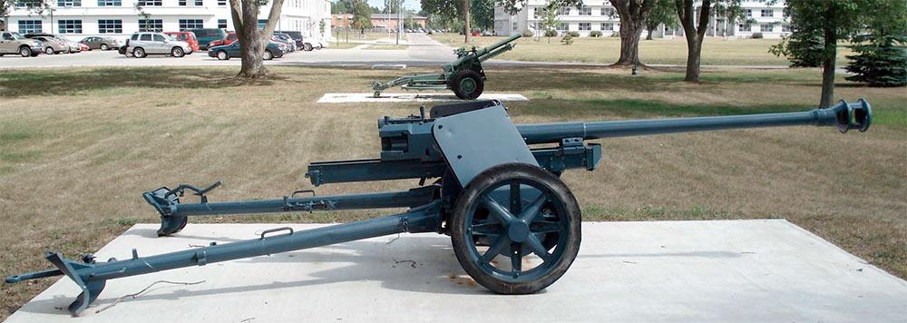 75-мм <a href='https://arsenal-info.ru/b/book/1671492103/2' target='_self'>противотанковая пушка</a> PaK-40 обр. 1939 г., вид сбоку