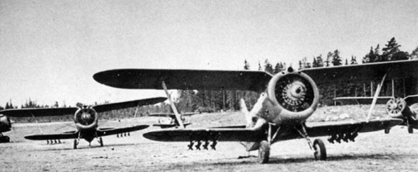 Истребитель И-153 «Чайка» с ракетами РС-82