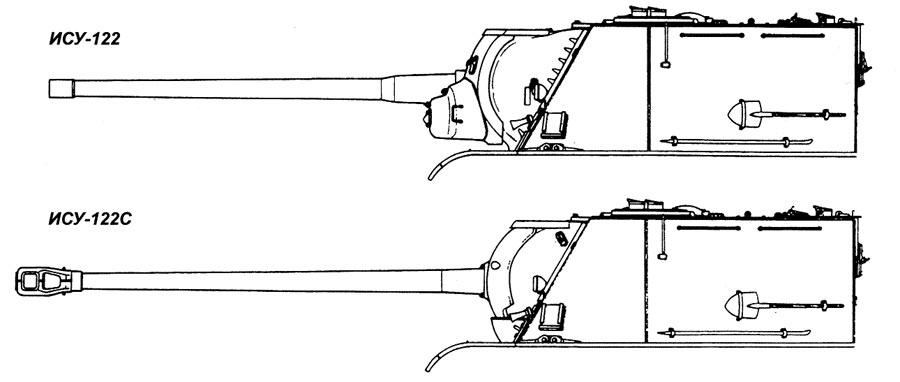 Внешние различия ИСУ-122 и ИСУ-122С