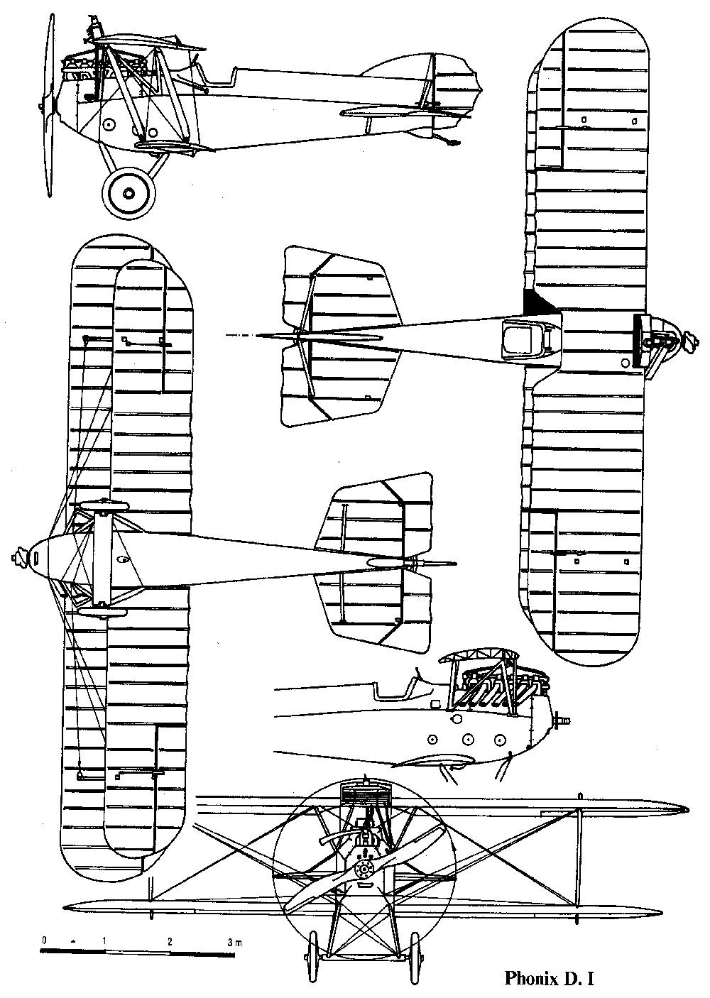 Чертеж австро-венгерского истребителя 'Феникс D.I'