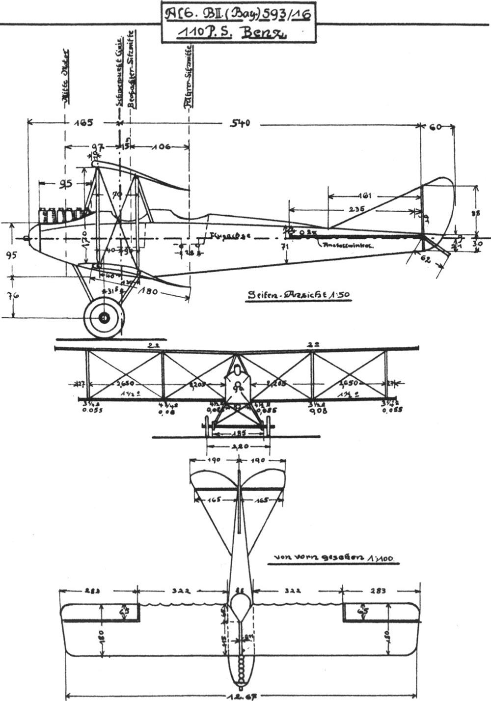 Чертеж самолета Альбатрос BII
