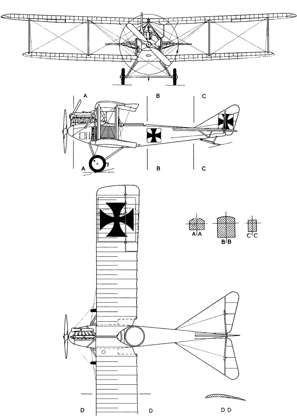 Чертеж немецкого самолета-разведчика Альбатрос C.I