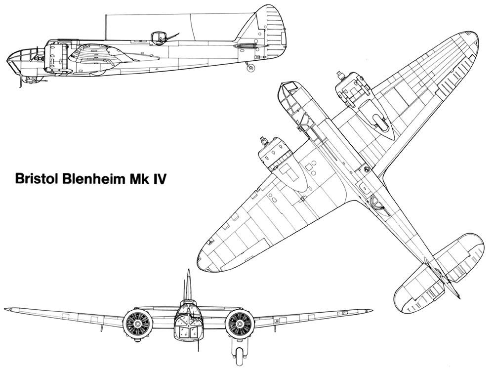 Чертеж бомбардировщика Бристоль «Бленхейм» Mk.IV