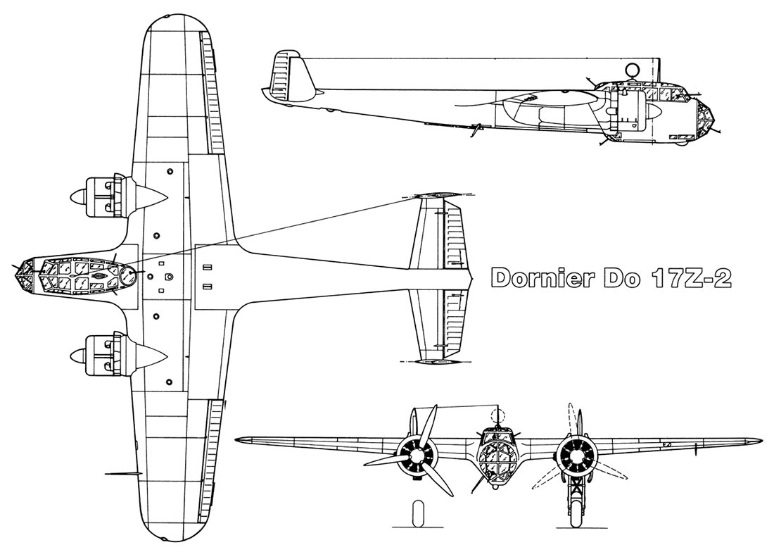Чертеж бомбардировщика Дорнье 17