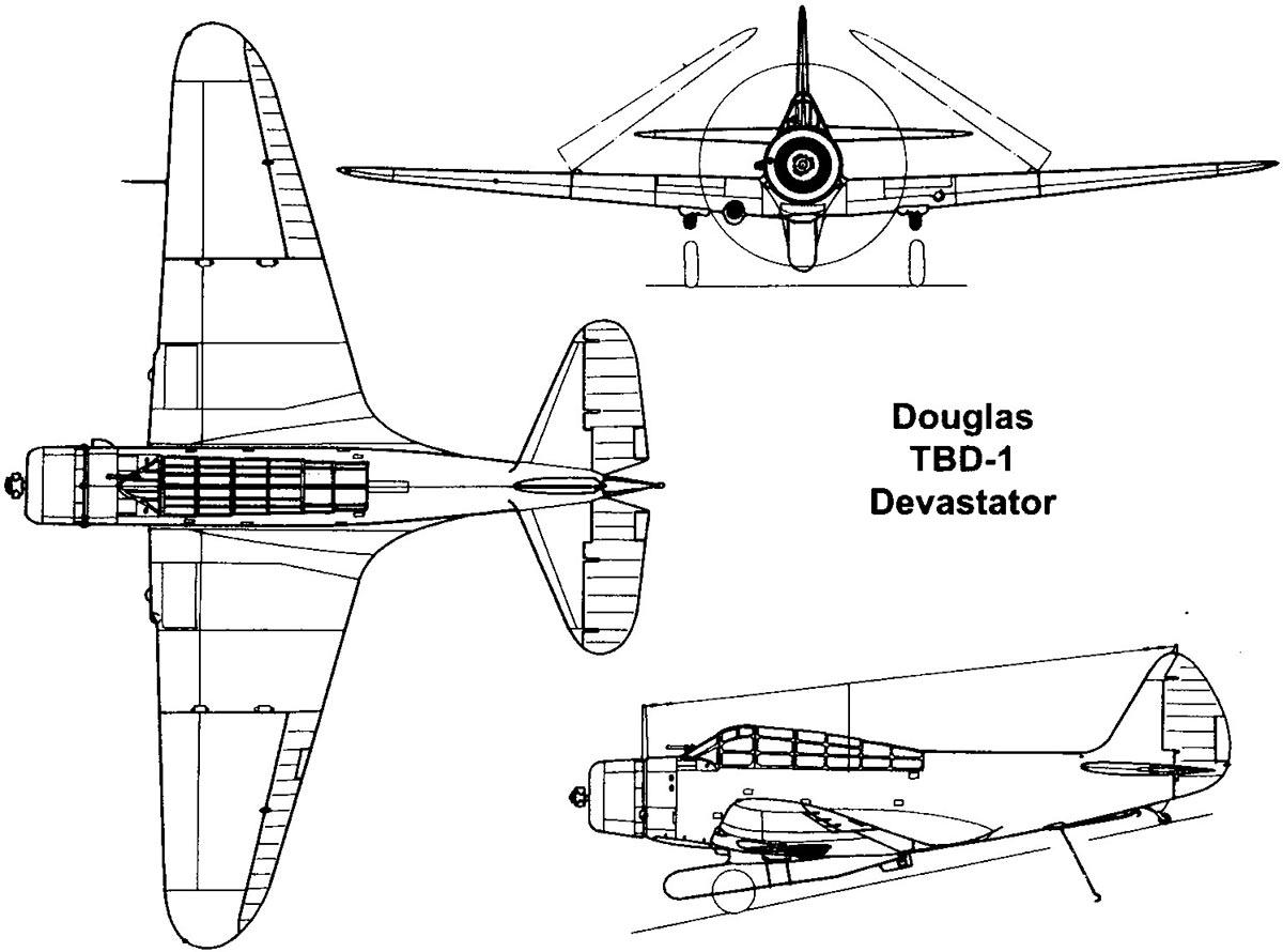 Чертеж бомбардировщика Дуглас TBD-1 «Девастэйтор»