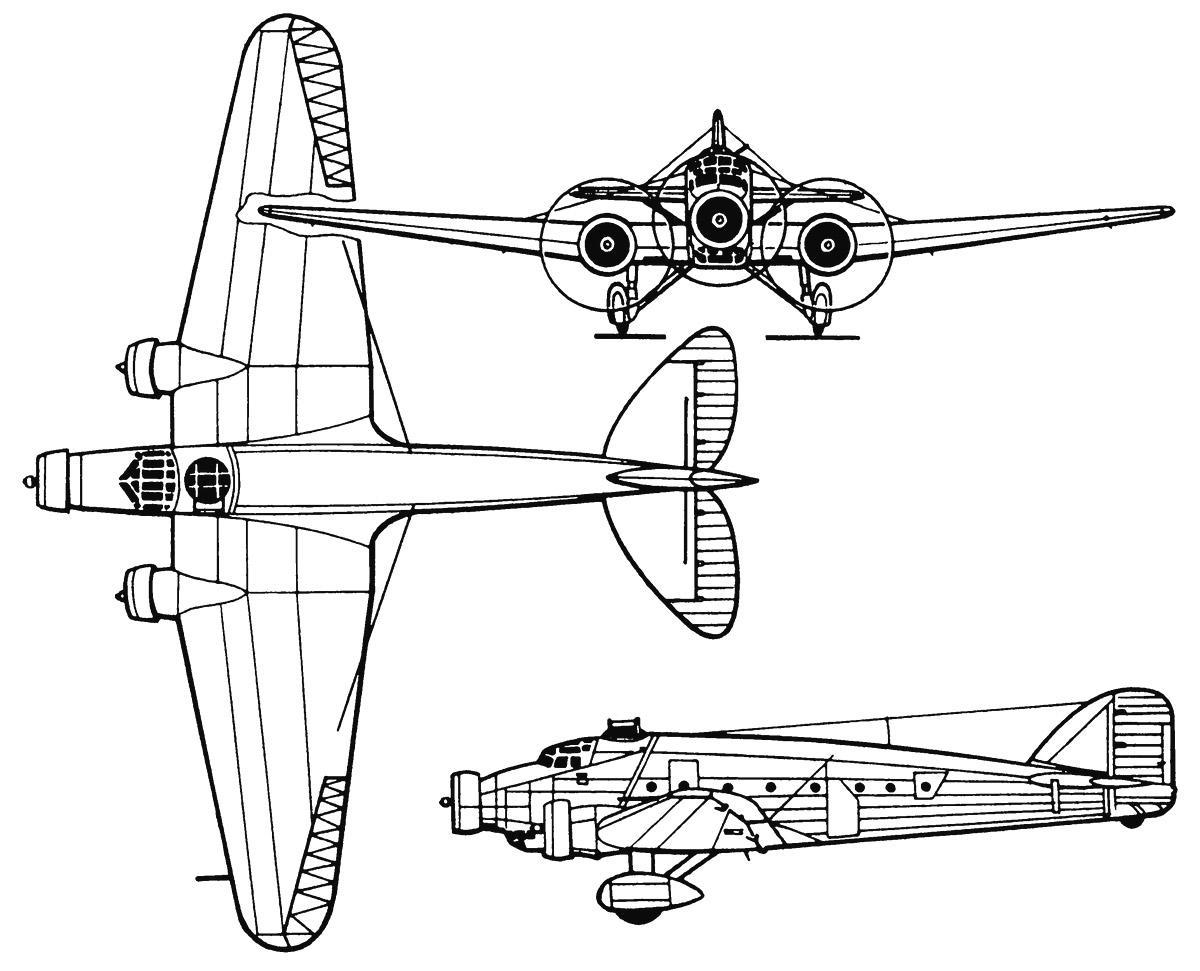 Схема итальянского бомбардировщика SM.81