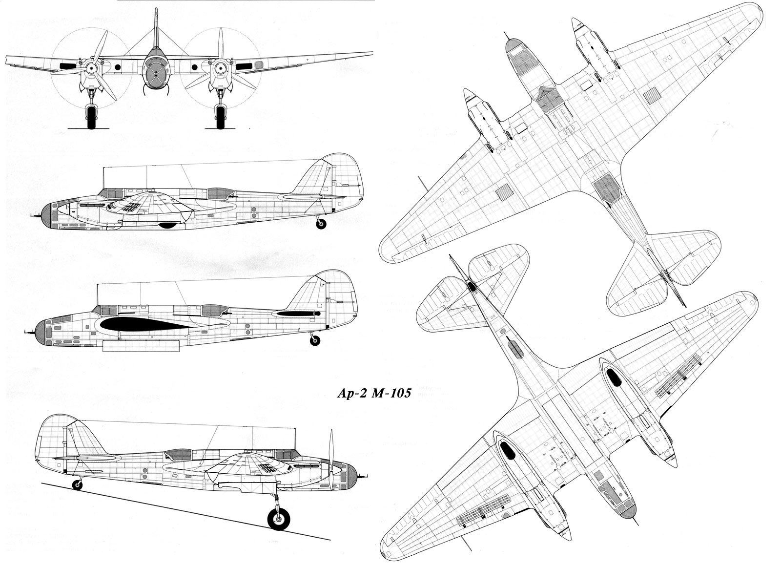 Чертеж бомбардировщика «СБ» (АНТ-40)