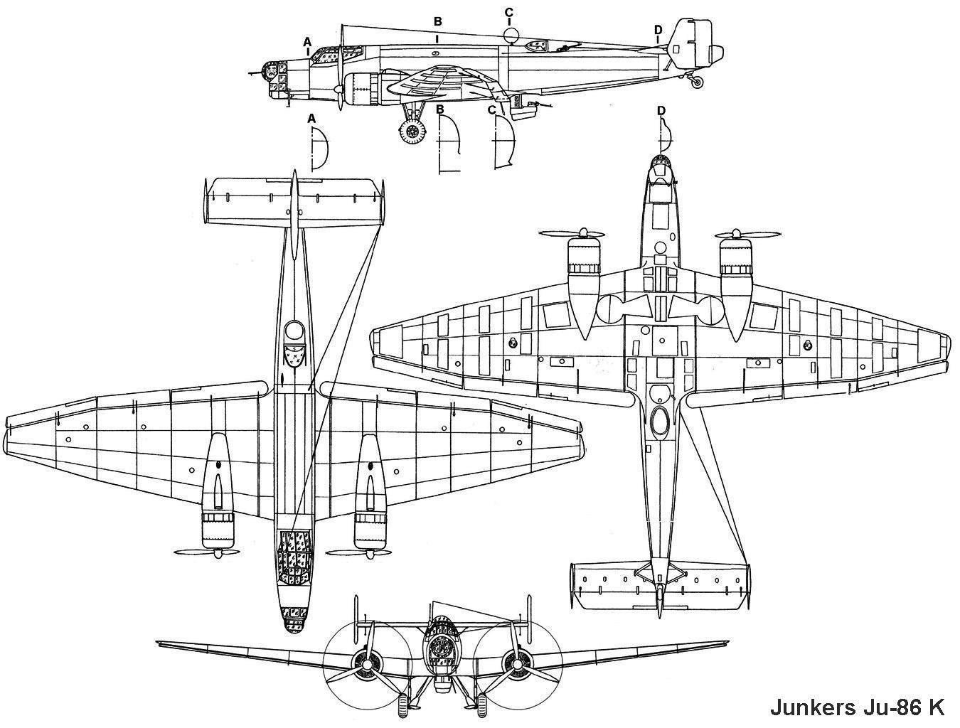 Чертеж бомбардировщика юнкерс Ju-86