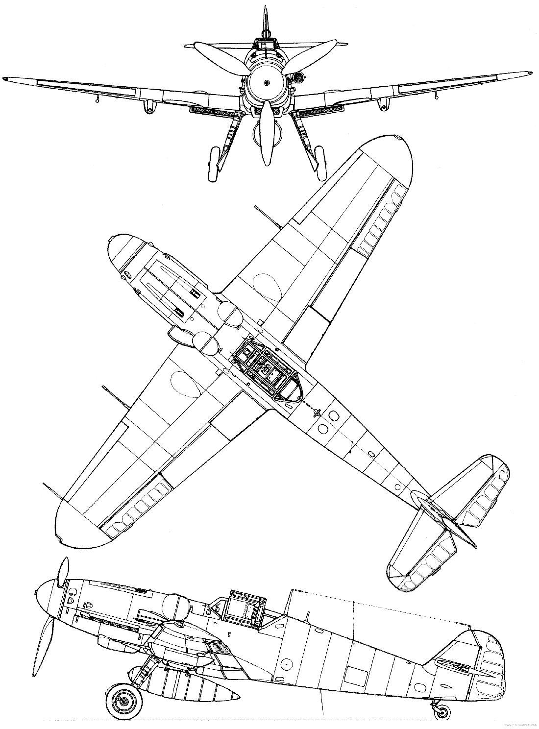 Чертеж истребителя Мессершмитт Bf-109