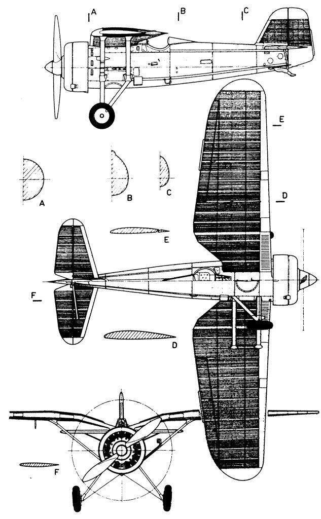 Чертеж истребителя PZL P-11