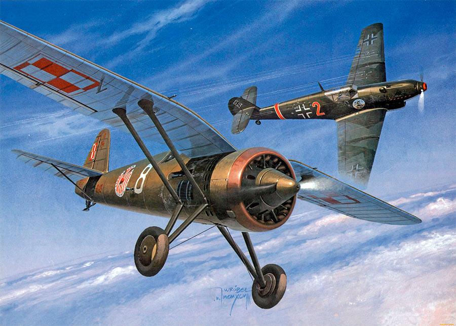 Польский P-11 в бою против немецкого <a href='https://arsenal-info.ru/b/book/2753724368/7' target='_self'>мессершмитта</a> Bf-109