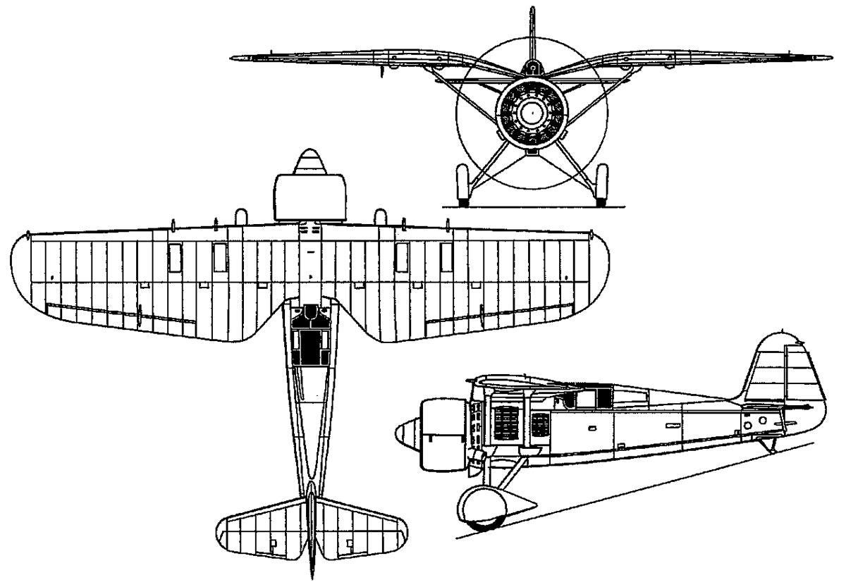 Чертеж истребителя PZL P-24