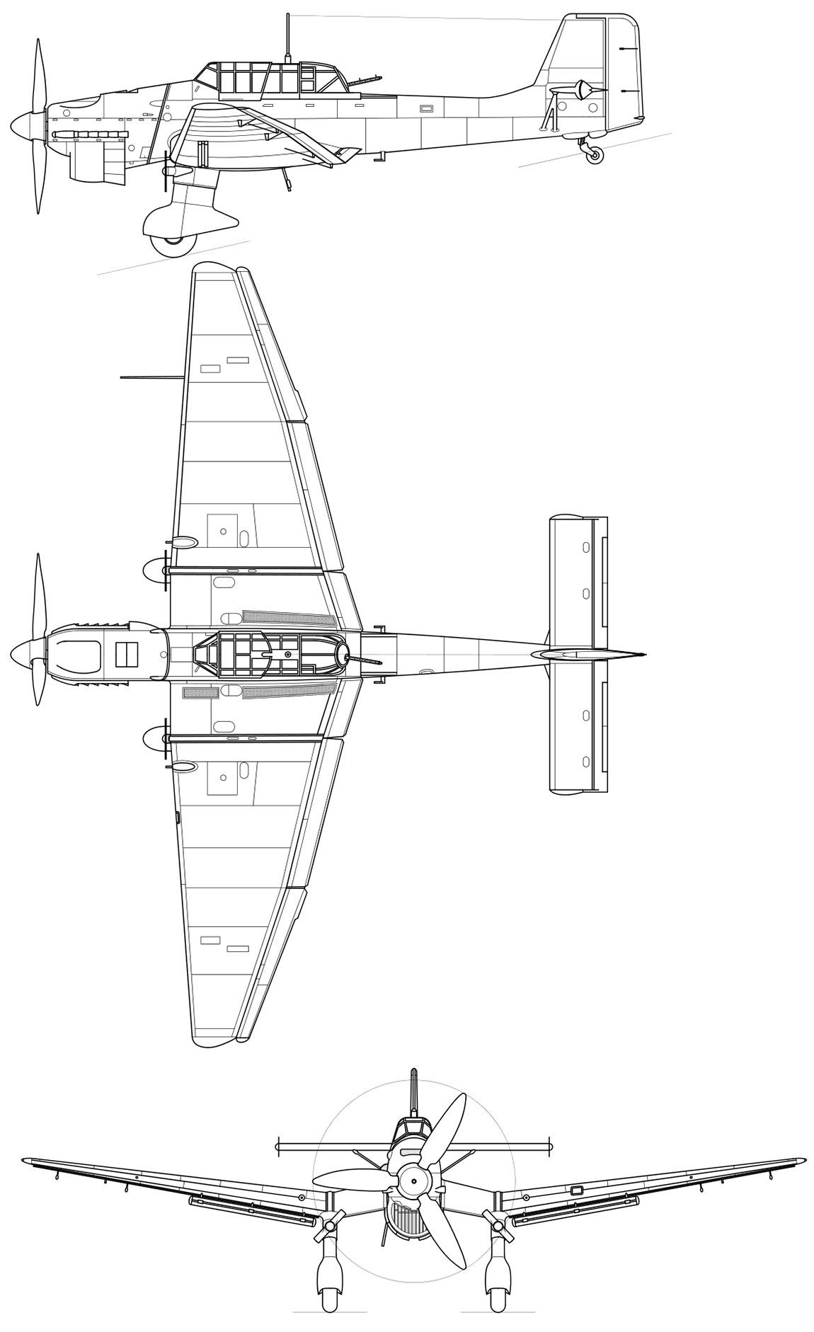 Чертеж пикирующего бомбардировщика Юнкерс Ju.87 'Штука'