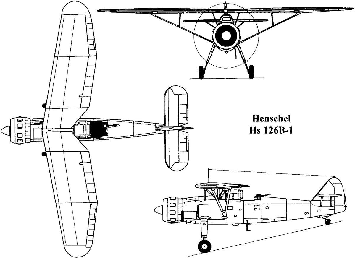 Чертеж самолета Henschel Hs.126