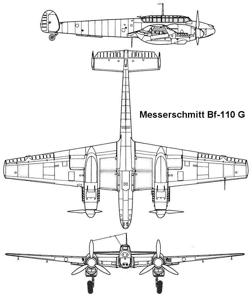 Чертеж тяжелого истребителя Bf-110