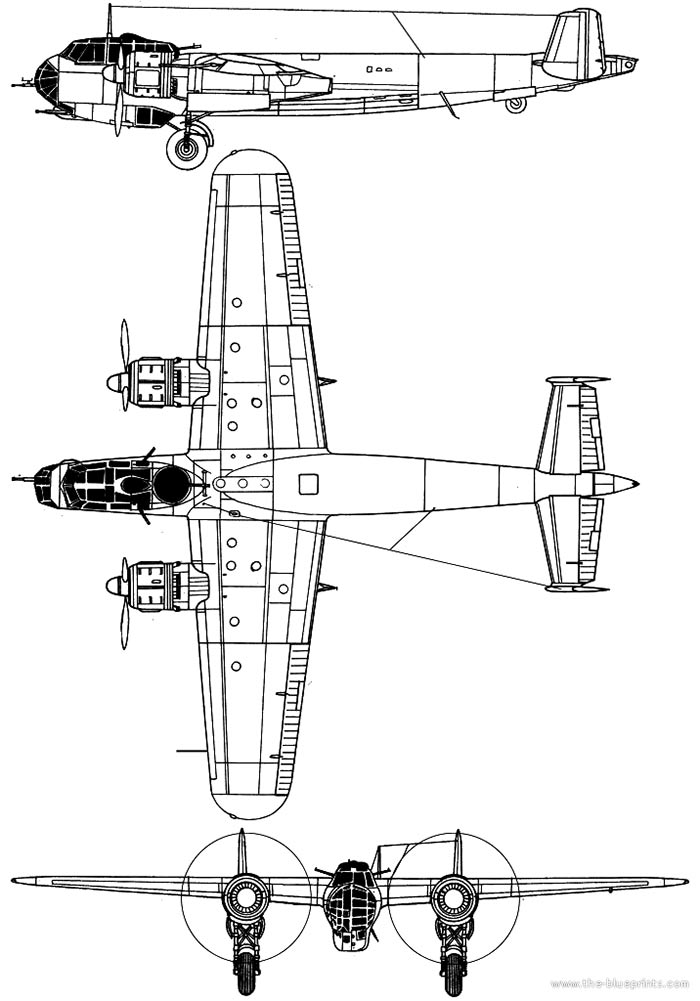 Чертеж бомбардировщика Дорнье 217E (Do-217E)