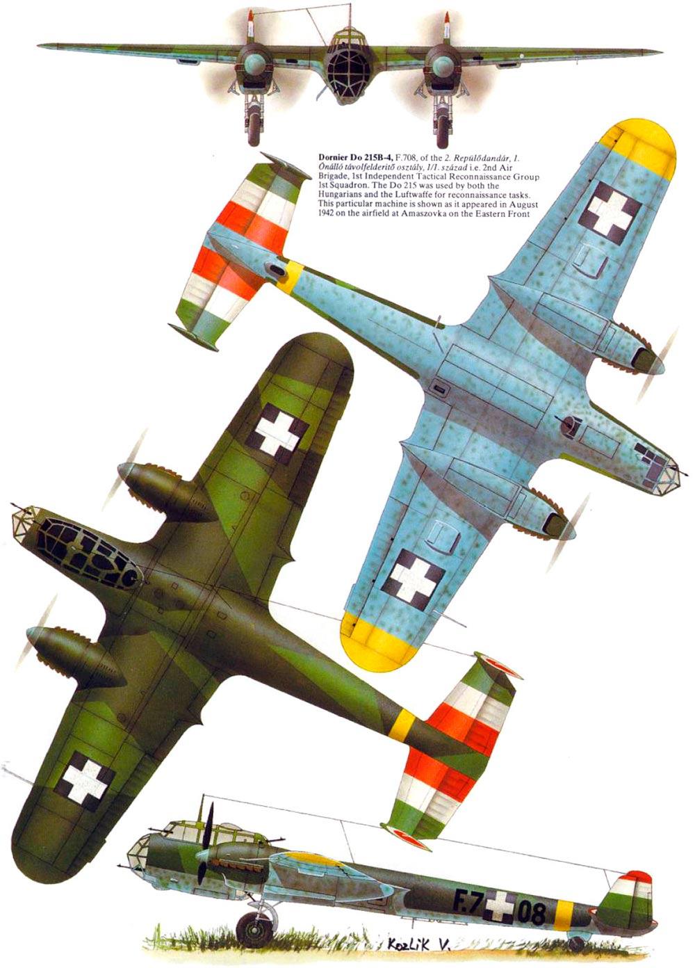 Проекции бомбардировщика Дорнье 215 (Do-215)