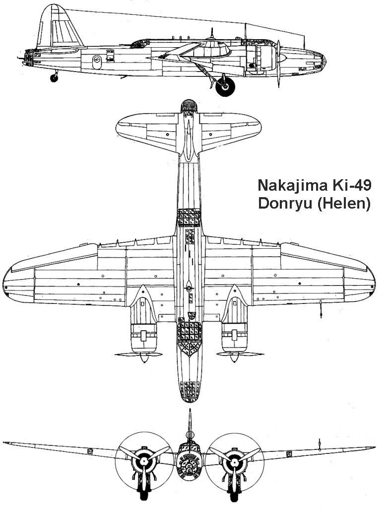 Чертеж японского бомбардировщика Ki-49 «Донрю»