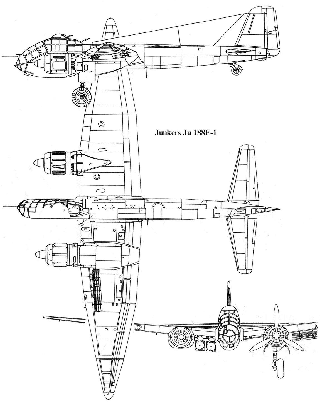 Чертеж бомбардировщика Юнкерс Ju-188