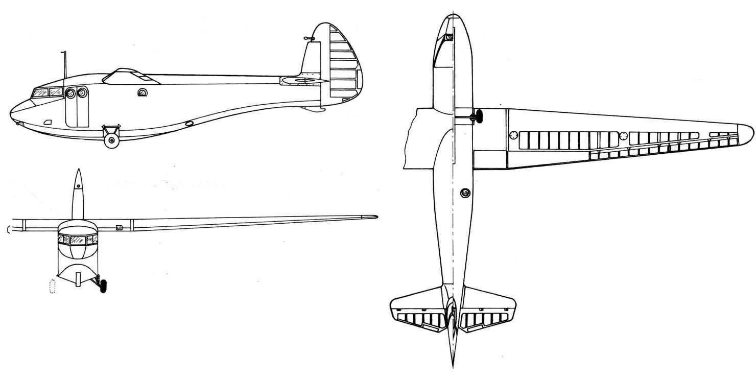 Чертеж десантного планера А-7