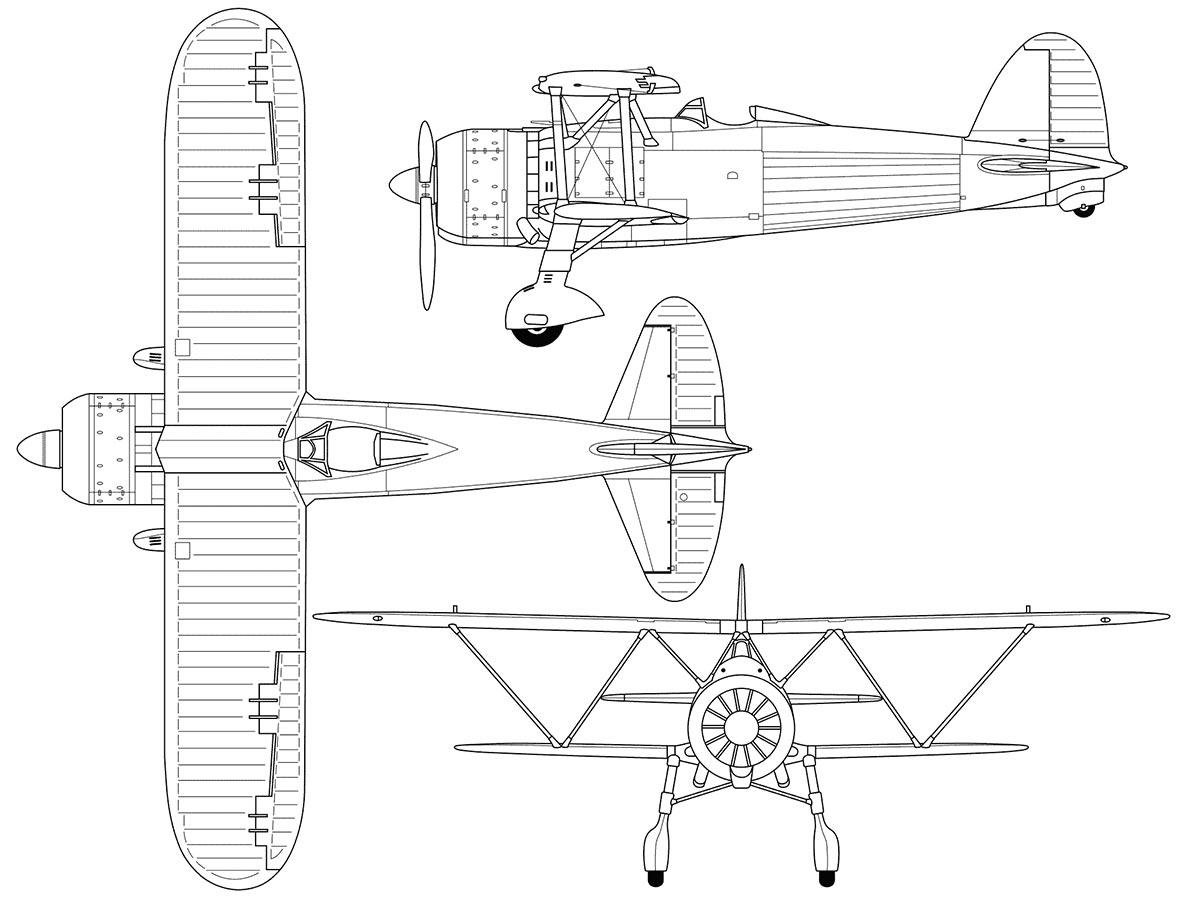Чертеж истребителя Fiat CR.42 «Falco»