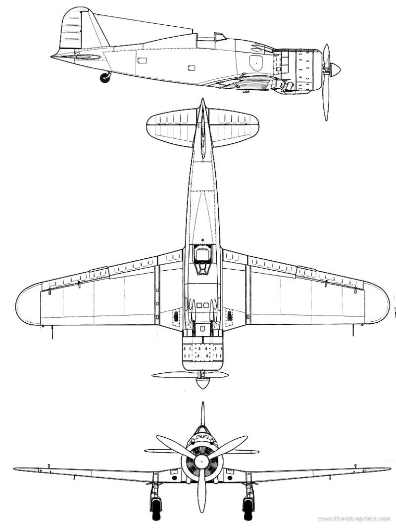 Чертеж истребителя Fiat G.50 «Freccia»