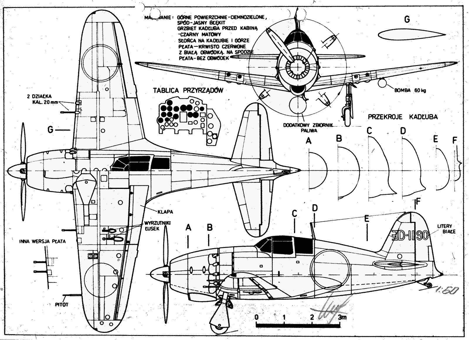 Чертеж японского истребиля-перехватчика «Рейден» J2M3.