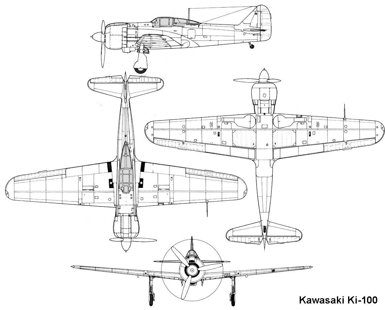 Чертеж японского истребителя Ki-100