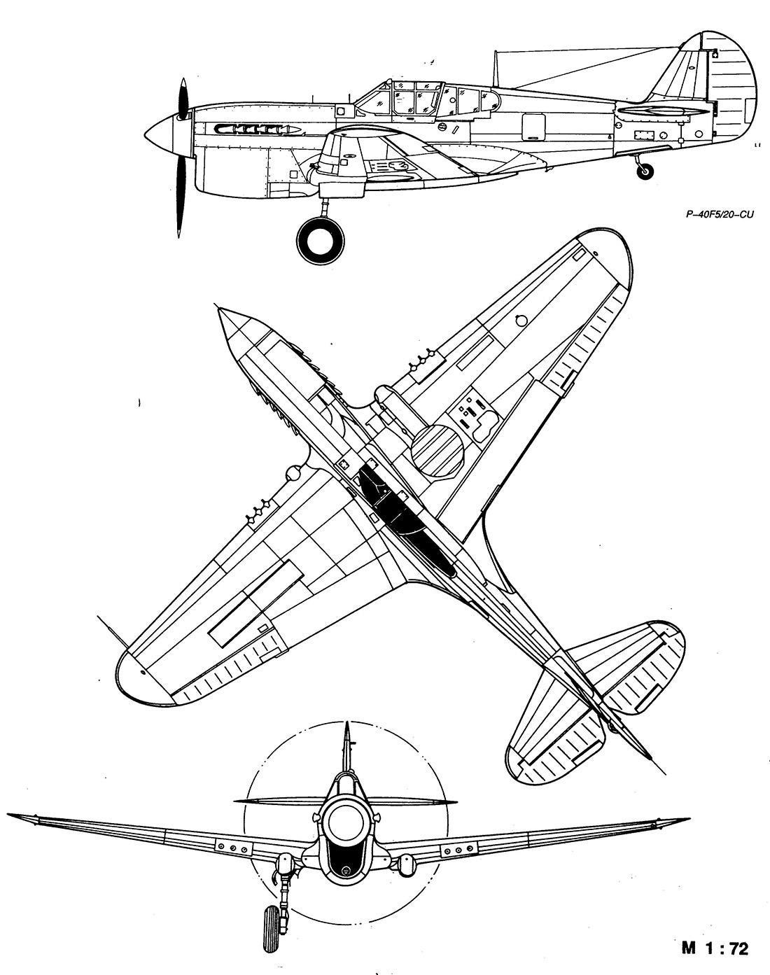 Чертеж истребителя P-40 Томагавк