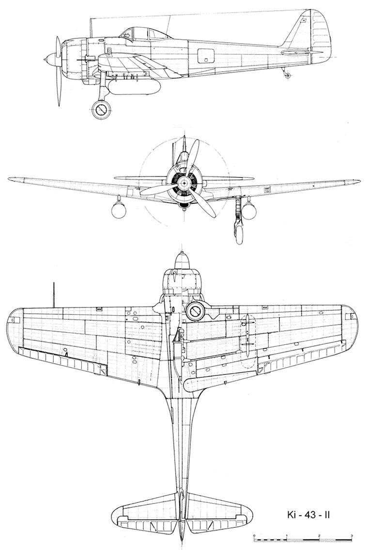 Чертеж японского истребителя Ki-43 'Hayabusa'